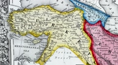 Antique map of Persia, Turkey in Asia. Afghanistan, Beloochistan Stock Footage