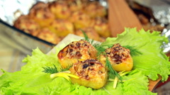 Boats potato stuffed with beef meat and hard parmesan. Stock Footage