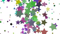 Rotating,flying stars of different colors on white - stock footage