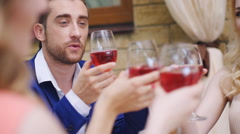 Celebration. People holding glasses of champagne making a toast Stock Footage