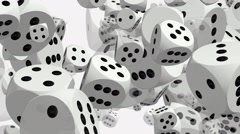 Rotating dices on white - stock footage