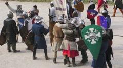 Medieval battle assault win Stock Footage