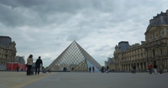 Coming up to the Louvre Pyramid Stock Footage
