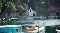 Nature, view of Cretes lake, moored boats, harbor. Stock Footage