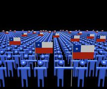 Crowd of abstract people with many Chilean flags illustration - stock illustration