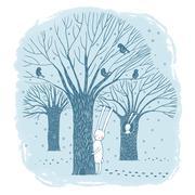 Beautiful trees, birds and rabbit. - stock illustration