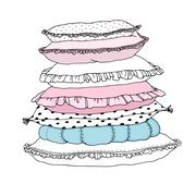Beautiful pillows on a white background. - stock illustration
