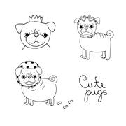 Cute Pugs. Dogs. - stock illustration