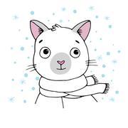 Portrait of a Siamese cat. Winter. - stock illustration