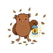 Cute cartoon Owl - stock illustration