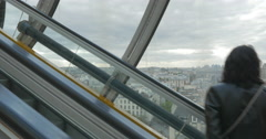 Paris view from the escalator in Pompidou Centre - stock footage
