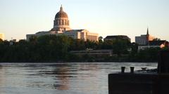Jefferson City Missouri Capital Building River View Pan Up  Stock Footage