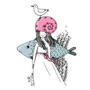 Girl, fish, seagulls, seaweed, starfish and a ring. - stock illustration