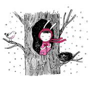 The story about a bunny, tree, hollow, nest, bird and heart. - stock illustration