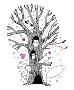 Beautiful magic tree, fox, hare angel and owl. Stock Illustration