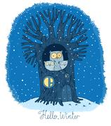 Beautiful tree and family of owls. Winter. Stock Illustration