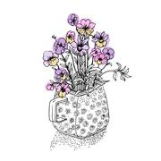Vector sketch of the wildflowers - stock illustration