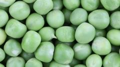 Fresh green pea rotate. Green pea clockwise rotation, macro - stock footage