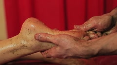 Foot massage for a woman - stock footage