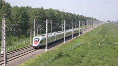 Sapsan high speed train from Moscow runs to St. Petersburg Stock Footage