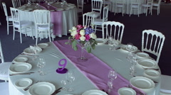Decor design round table purple lilac stripe in the middle Stock Footage