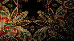Ethnic fabric, flower embroidery Stock Footage