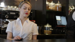 4K Portrait of smiling team of bar staff in fashionable city bar Stock Footage