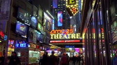 Pedestrian at the 42nd street near AMC Empire 25 theatre  (Times Square) Stock Footage