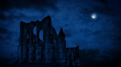Old Abbey Ruins At Night - stock footage