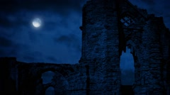 Arches Of Medieval Ruins At Night - stock footage