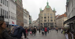 Car free shopping street Stroget in Copenhagen Stock Footage
