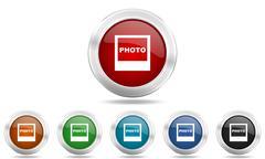 Photo round glossy icon set, colored circle metallic design internet buttons Stock Illustration