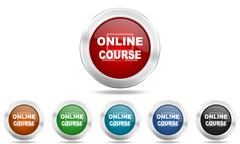 Online course round glossy icon set, colored circle metallic design internet  Stock Illustration