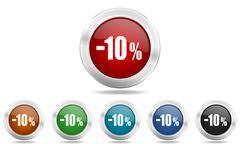 10 percent sale retail round glossy icon set, colored circle metallic design  Stock Illustration