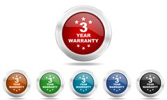 warranty guarantee 3 year round glossy icon set, colored circle metallic desi - stock illustration