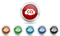 Carbon dioxide round glossy icon set, colored circle metallic design internet Stock Illustration