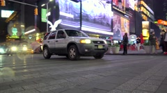 Pass over the Times Square at night (bottom view). NYC, New York, USA. Stock Footage