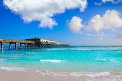 Daytona Beach in Florida with pier USA - stock photo