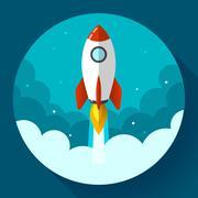 Startup illustration. Rocket in the clouds. Flat design style. - stock illustration