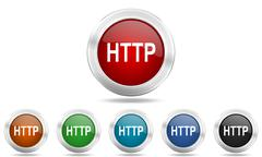 Http round glossy icon set, colored circle metallic design internet buttons Stock Illustration