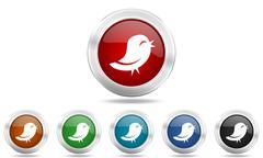 Twitter round glossy icon set, colored circle metallic design internet button Stock Illustration