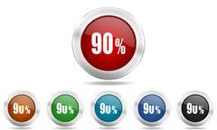 90 percent round glossy icon set, colored circle metallic design internet but Stock Illustration