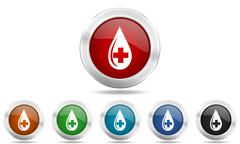Blood round glossy icon set, colored circle metallic design internet buttons Stock Illustration