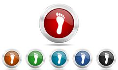 Foot round glossy icon set, colored circle metallic design internet buttons Stock Illustration