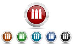 Ammunition round glossy icon set, colored circle metallic design internet but Stock Illustration
