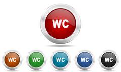 toilet round glossy icon set, colored circle metallic design internet buttons - stock illustration