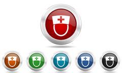 Nurse round glossy icon set, colored circle metallic design internet buttons Stock Illustration