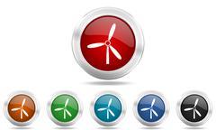 Windmill round glossy icon set, colored circle metallic design internet butto Stock Illustration
