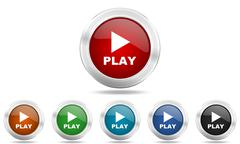 Play round glossy icon set, colored circle metallic design internet buttons Stock Illustration