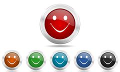 Smile round glossy icon set, colored circle metallic design internet buttons Stock Illustration